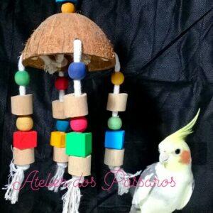 Brinquedo Casca de Coco Natural (Cubos de Madeira)